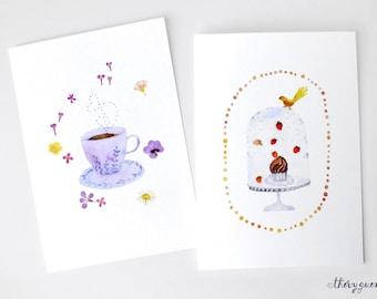 Bird cupcake card, Chocolate lover card, Chocolate stationery, Chocolate watercolor card, Sweet watercolor greeting card, Hot chocolate card