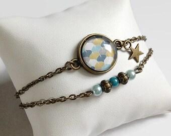 bronze bracelet, Scandinavian style graphic, Khaki gray blue geometric pattern, glass cabochon