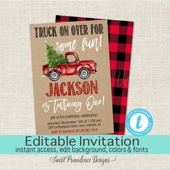 Christmas Truck Invitation Boy First Birthday Editable