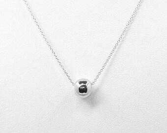 14k Plain Ball Necklace/14k Rose Gold Necklace/Simple Necklace/Sphere Necklace/14k Ball Pendant/Women's Simple Pendant Necklace