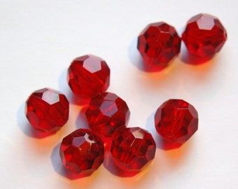 Vintage Translucent Ruby Red Bumpy Acrylic Beads 12mm bds143H