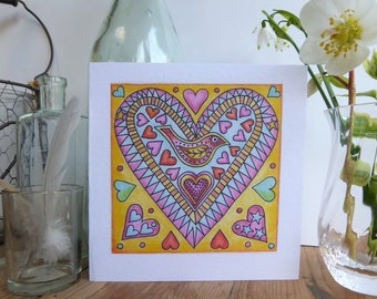 Valentines Day greetings card with love hearts and bird