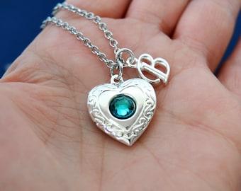 Silver Heart Locket, Birthstone Necklace, Swarovski Blue Zircon December  Birthstone Locket, Initial Necklace, Photo Locket, Locket Necklace