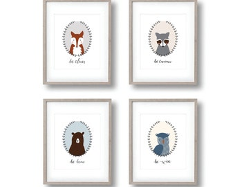 set of 4 woodland animal prints, nursery art, fox print, bear print, raccoon print, owl print, woodland nursery decor, woodland creatures