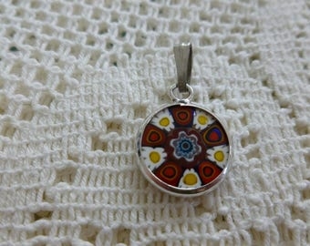 Vintage Millefiori Round Pendant, Made in Italy, Vintage Jewellery, Gift for Her, Italian Glass Jewellery, Valentines