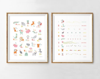 Alphabet poster, Numbers poster, set of 2, Alphabet wall art, Numbers wall art, Alphabet and numbers print, Modern nursery wall art, ABC art
