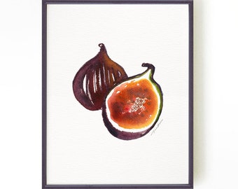 Fig print watercolor painting, Art for kitchen, Fruit print, Apartment decor, Botanical print, Kitchen art,  Purple Fig#1 Buy 2 Get 1 Free