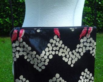 Black coated cotton shoulder bag