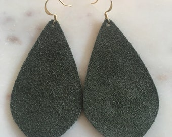 Suede Hunter Green Leather Earrings