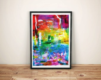 """abstract art print / contemporary watercolor colorblock painting print /  multi color red pink yellow large wall art / """"rainbow abstract"""""""