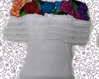 M- L Off the shoulder Mexican Blouse peasant blouse mexican top mexican embroidered mexican clothing floral blouse