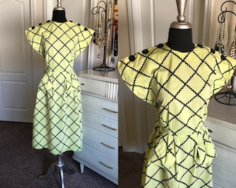 Vintage 1940's Chartreuse and Black Cotton Dress Medium