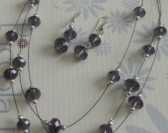 Necklace + Earring purple glass bead