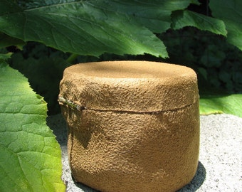 Faux Suede Leather Fine Caramel Vegan Friendly Sycamore Natural Wooden Ring Box by Tanja Sova