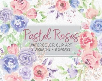 Watercolor wreath of pastel roses; mini clip art bundle; 2 wreaths and 3 sprays; watercolor clip art; wedding clip art