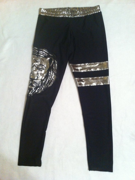 wrestling tights with lion head logo