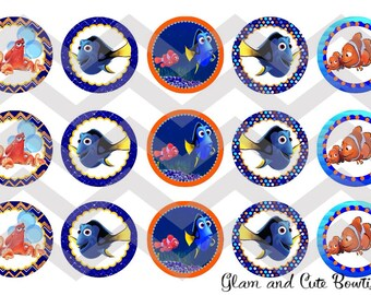 "Finding Dory INSTANT DOWNLOAD Bottle Cap Images 4x6 sheet 1"" circles"