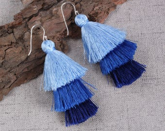 Three Layered Blue Tassel Earrings With Sterling Silver Ear Wires Dangle Earrings Long Statement Earrings