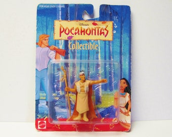 Pocahontas Chief Powhatan-Disney Movie Action Figure-Mattel Toy Indian Chief Character-Original Packaging MOC on Backing-1995 Animated Film
