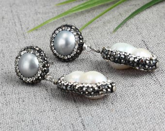 White Pearl Earrings, Gray Pearl Earrings, Pearl Rhinestone, Dangle Earrings, Wedding Earrings, Bridesmaid Earrings, Pearl Drop Earrings