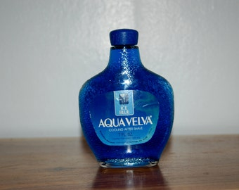 Vintage AQUA VELVA Ice Blue Cooling after shave 7 fl oz  Glass Bottle ~ New in Unopened Full Bottle ~ Deep Ocean Blue