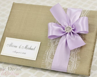 Wedding Guest Book Gold Lavender Custom Made in your Colors