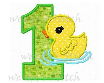 duck birthday applique number 1 machine embroidery design instant download
