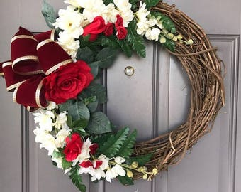 Vintage Red Rose Mother's Day Floral Grapevine Kats Creations Wreath