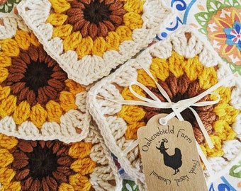 Sunflower crochet coaster set