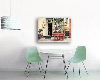 Paris Cafe Print on Canvas Large Canvas Art- Mint Green Yellow - 16x20 Canvas, Rustic Kitchen Decor