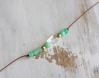 Beaded gemstone choker - silk choker necklace with chrysoprase, rainbow moonstone & gold - gold jewelry - beaded gemstone jewelry