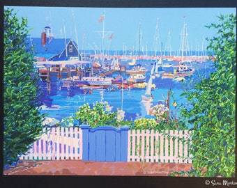 Painting of Rockport Massachusetts Harbor Inlet in Bearskin Neck Fine Art Stretched Canvas Print Wall Art Coastal New England Art