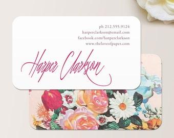 Signature Script Floral Business Card / Calling Card / Mommy Card / Contact Card - Calling Cards, Business Cards, Modern Business Cards