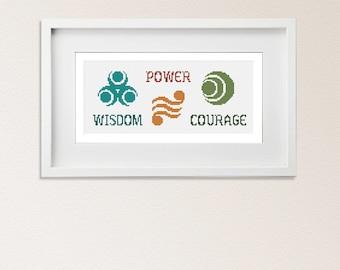 PATTERN- Legend of Zelda - Power Wisdom Courage  - Cross Stitch pattern - PDF - instant download - triforce LoZ  game