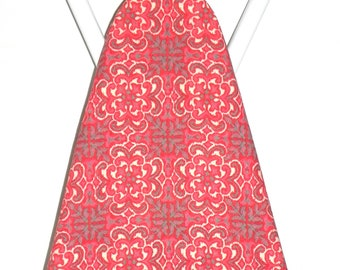 Ironing Board Cover - Coral red, cream and grey medalion floral Fabric - Housewarming party - Birthday gift - Sewing Room Kitchen decor