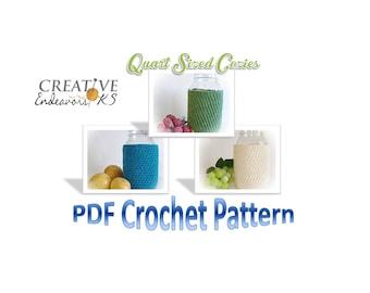 PDF Crochet Mason Jar Cozy, Quart Ball Jar Cozy Pattern, Mason Jar Cozy, Canning Jar Cover Pattern, Jar Sleeve Pattern, Crochet Tutorial