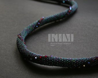 Bead Crochet Necklace  - Nebula - with Swarovski Crystals