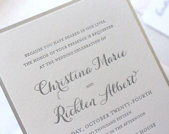The Snowdrop Suite, Modern Letterpress Wedding Invitation Sample, Silver, Glitter, Champagne, White, Formal, Elegant, Calligraphy, Script