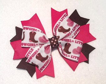 Cowgirl Hair Bow - 4.25 inch Stacked Boutique Pinwheel Hair Bow on Partially Lined Clip - Girls, infant, Baby - Brown & Pink