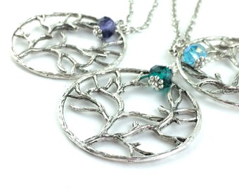 Birthstone Tree of Life Necklace - Long Silver Necklace - Tree Pendant - Sterling Silver Nature Jewelry - Birthstone Necklace