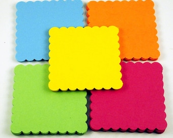 50 Scalloped Square Paper Die Cuts in  South Beach