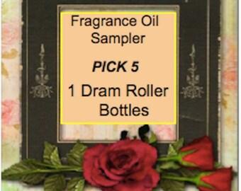 Sampler of Fragrance Oils 5 ~Dram Glass Roller Bottles With FREE Shipping
