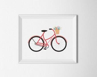 Red Bicycle printable, Boho decor, Bike printable, Nursery decor, Floral Bike, Bohemian Wall art, Home decor, Floral print, bike wall art