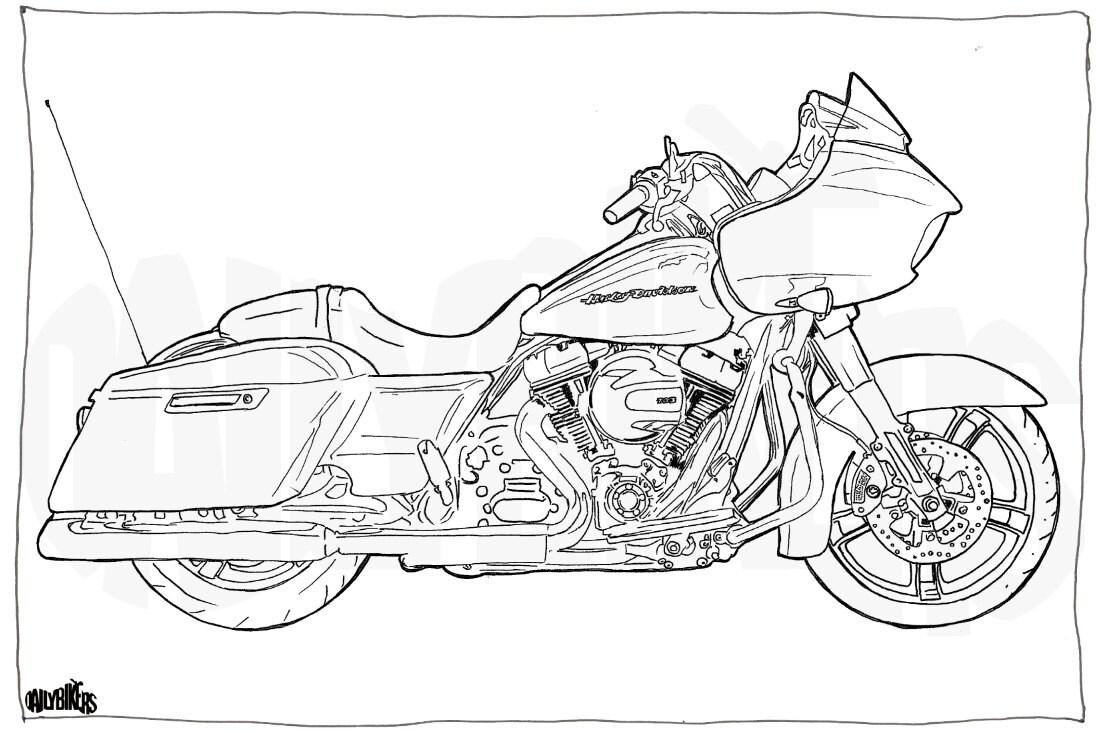 Harley Davidson Road Glide ausmalen Motorrad Motorrad