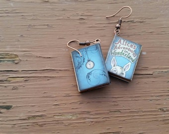 Alice's Adventures in Wonderland Miniature Book Charm Earrings - Gifts for Girls - Book Lover - Teacher jewelry