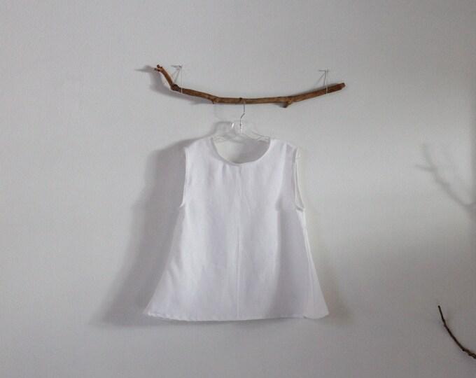 ready to wear size S simple wavy white linen top / size M linen tank top / white sleeveless linen top / petite linen top / white linen