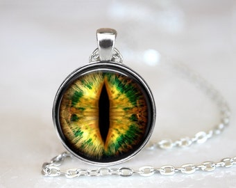 Creature Eye/ Dragon Eye 3 Glass Pendant, Photo Glass Necklace, Glass Keychain, Glass Jewelry