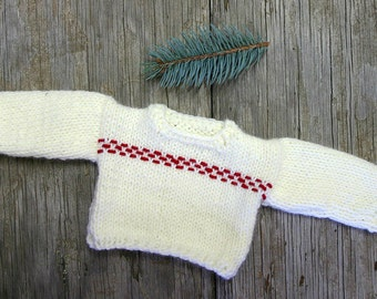 Doll Sweater- Cream, White, Red Embroidery- Hand Knitted-  Fits 15 Inch Build A Bear, American Girl- Ready To Ship- 5 Inches Across Chest