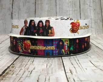 """7/8"""" People Descendants Inspired Movie Cartoon Characters Grosgrain Hair Bow Ribbon - Sold by 5 Yards"""