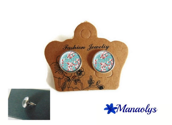 Round silver Stud Earrings, flower of Japan, Sakura, cherry blossoms, glass cabochons 3418